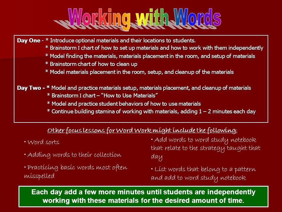 Other focus lessons for Word Work might include the following: