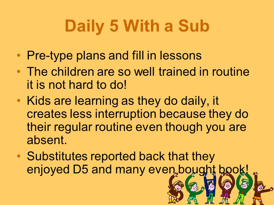 Daily 5 With a Sub Pre-type plans and fill in lessons
