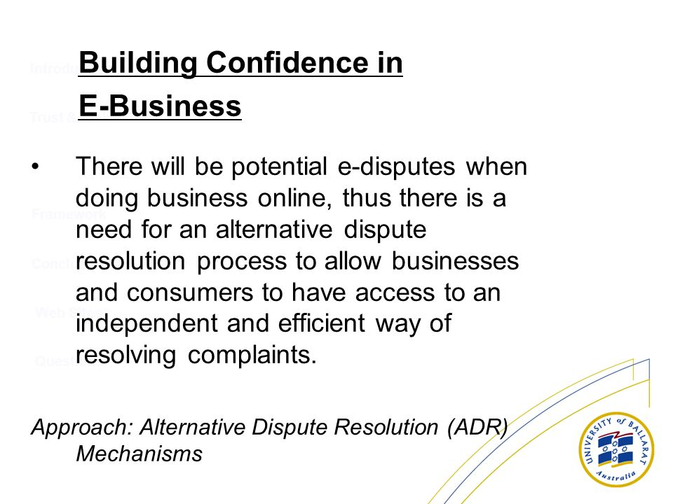 Building Confidence in E-Business