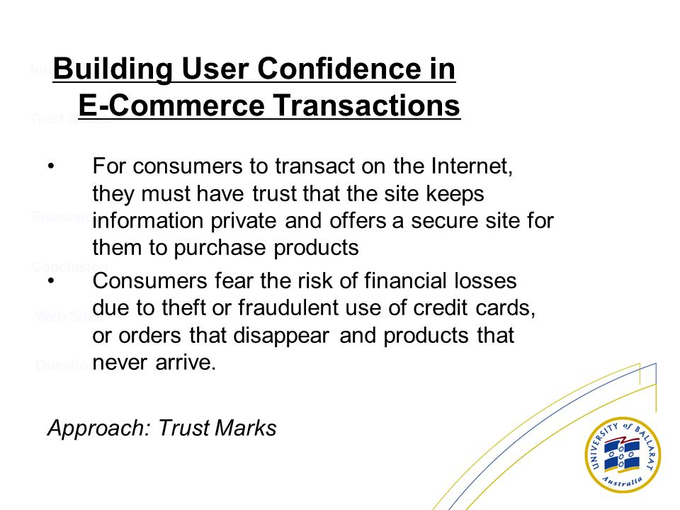 Building User Confidence in E-Commerce Transactions