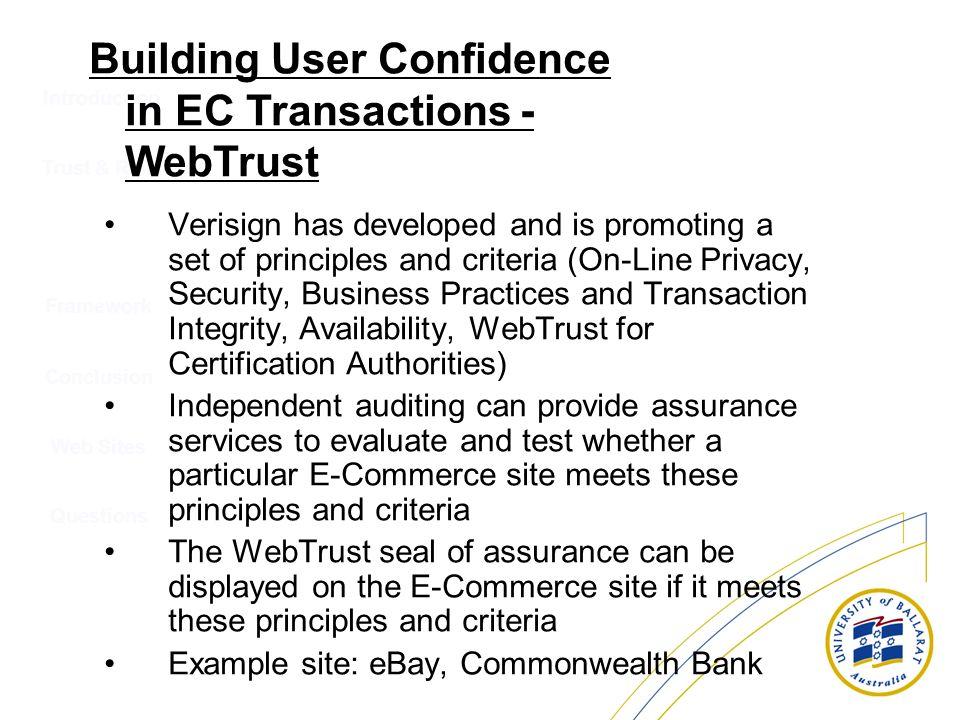 Building User Confidence in EC Transactions - WebTrust