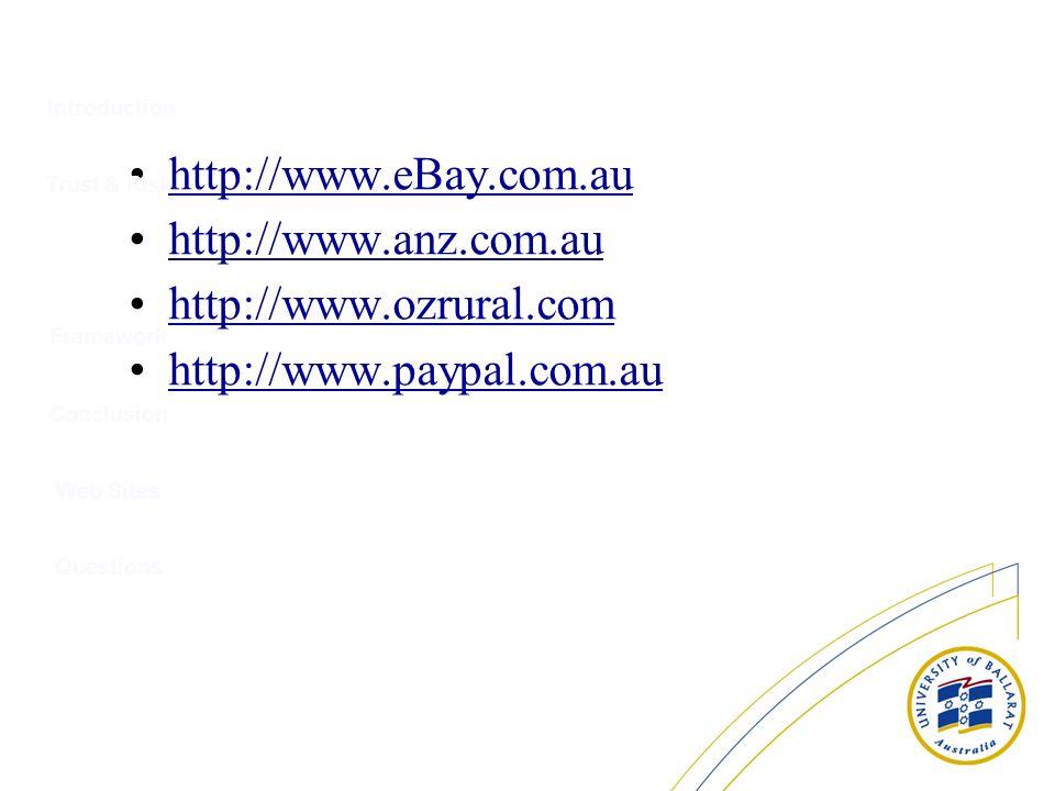 http://www.eBay.com.au http://www.anz.com.au http://www.ozrural.com