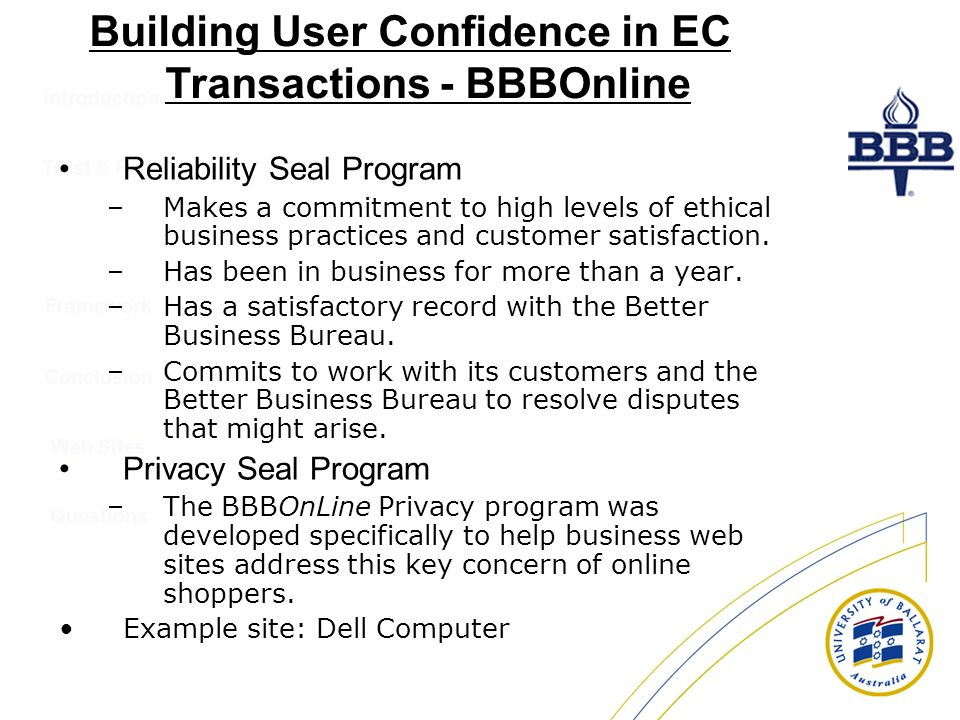 Building User Confidence in EC Transactions - BBBOnline