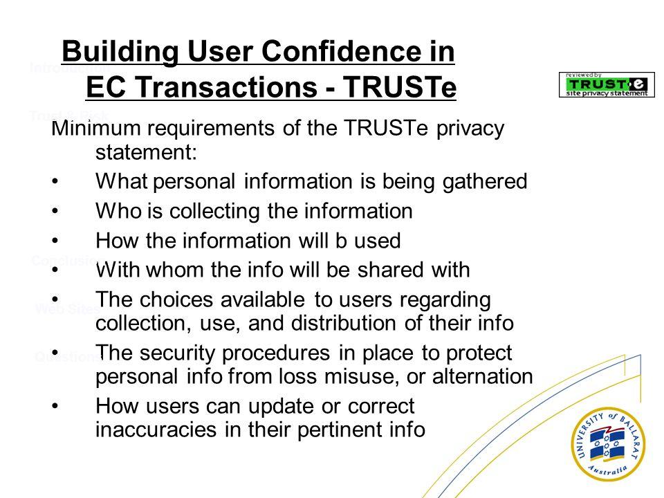 Building User Confidence in EC Transactions - TRUSTe