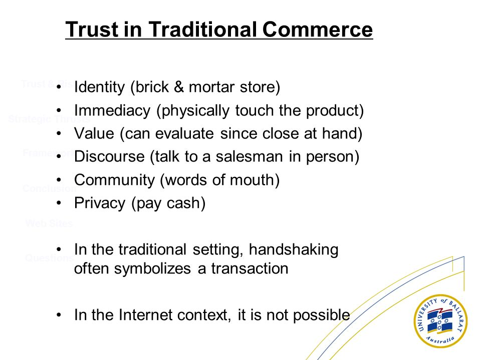 Trust in Traditional Commerce