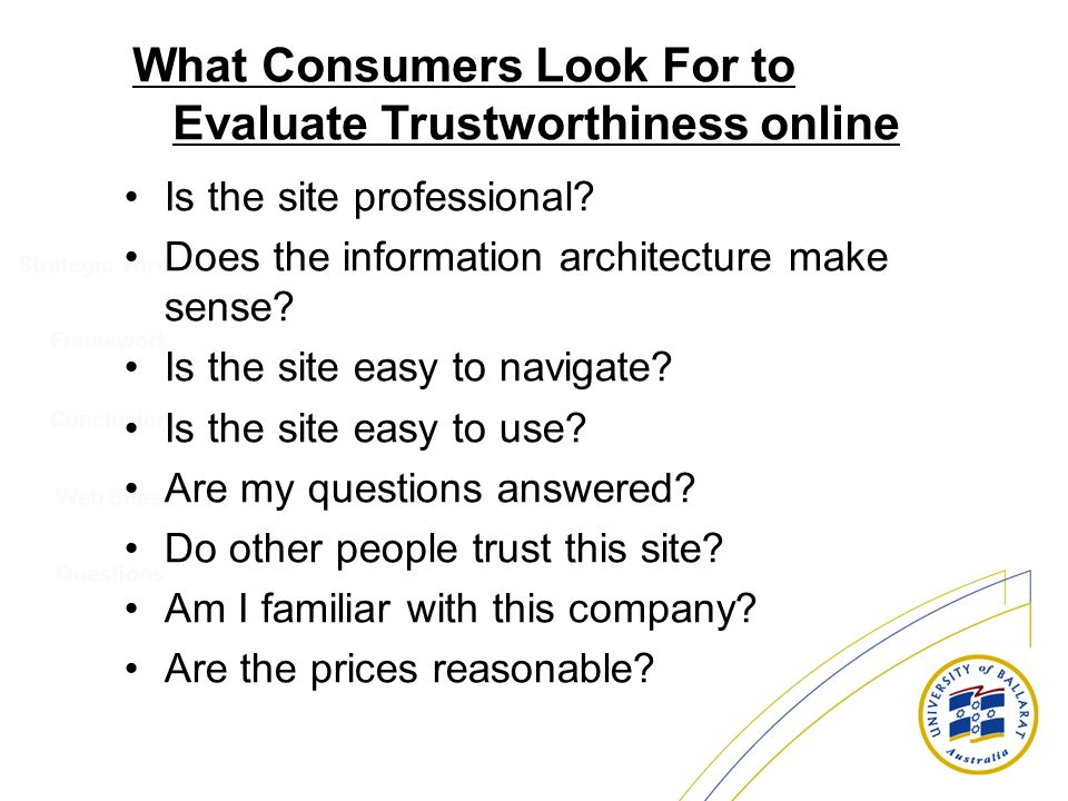 What Consumers Look For to Evaluate Trustworthiness online