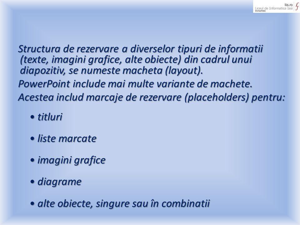 Structura de rezervare a diverselor tipuri de informatii (texte, imagini grafice, alte obiecte) din cadrul unui diapozitiv, se numeste macheta (layout).