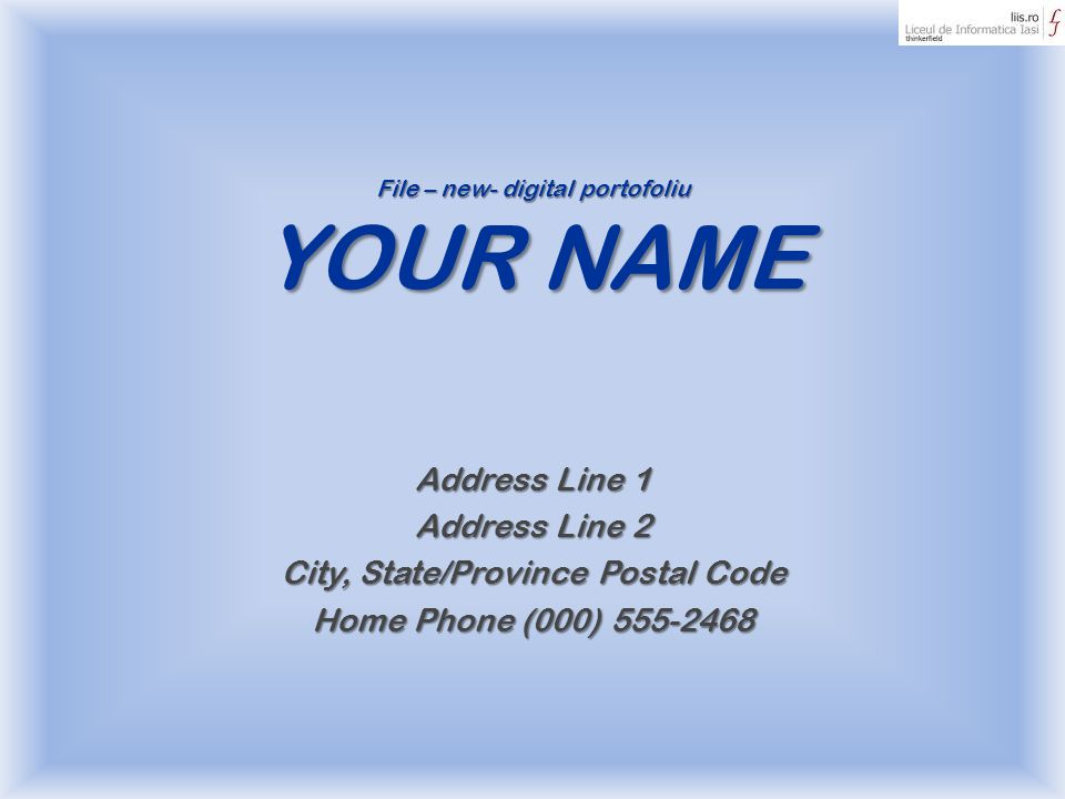 File – new- digital portofoliu YOUR NAME