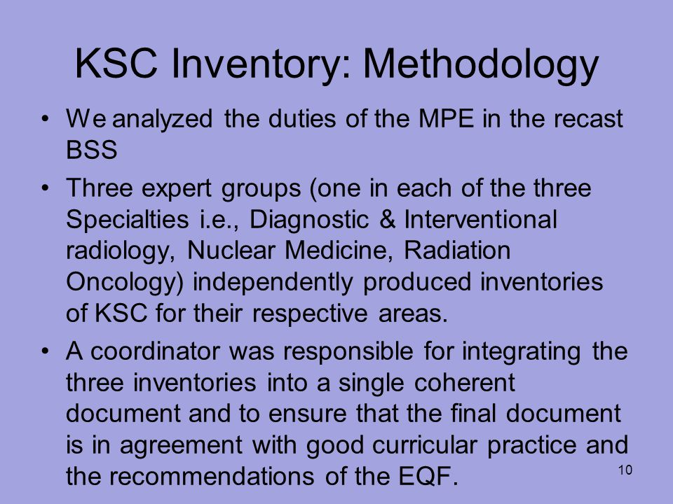 KSC Inventory: Methodology