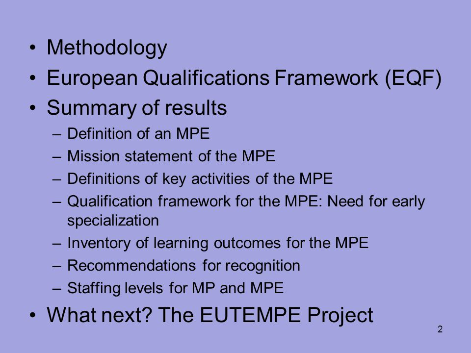 European Qualifications Framework (EQF) Summary of results