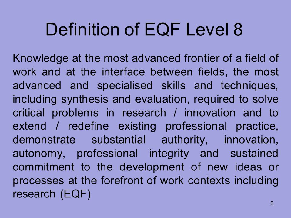 Definition of EQF Level 8