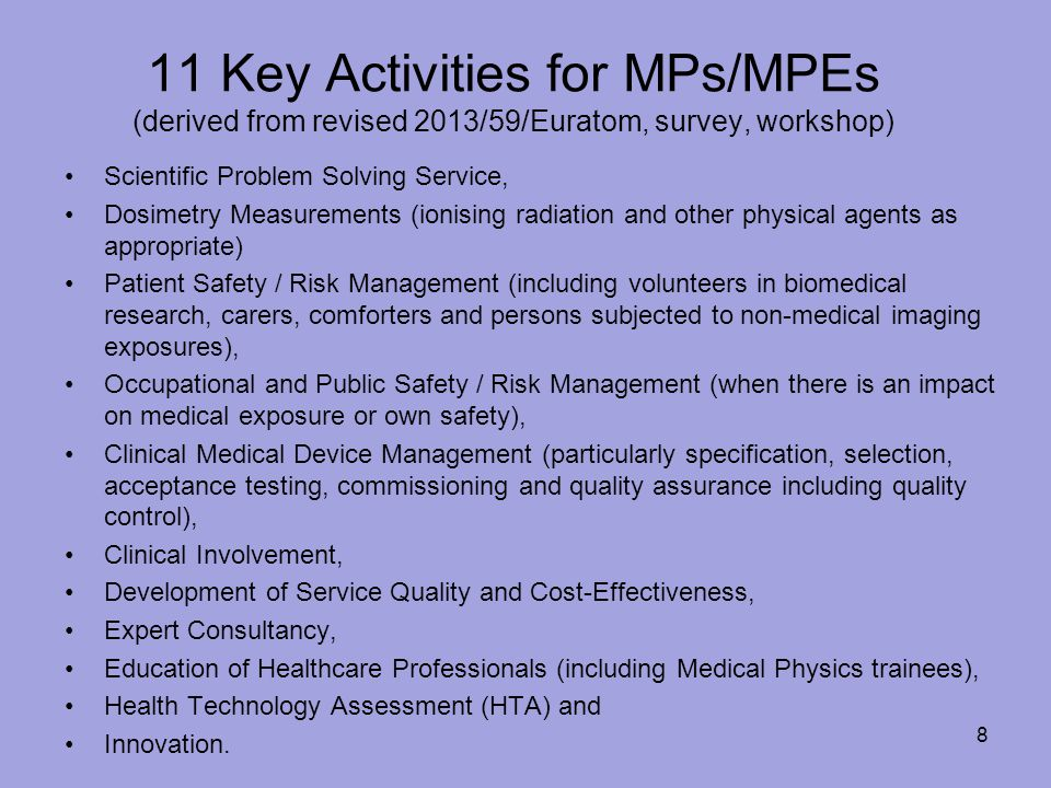 11 Key Activities for MPs/MPEs (derived from revised 2013/59/Euratom, survey, workshop)