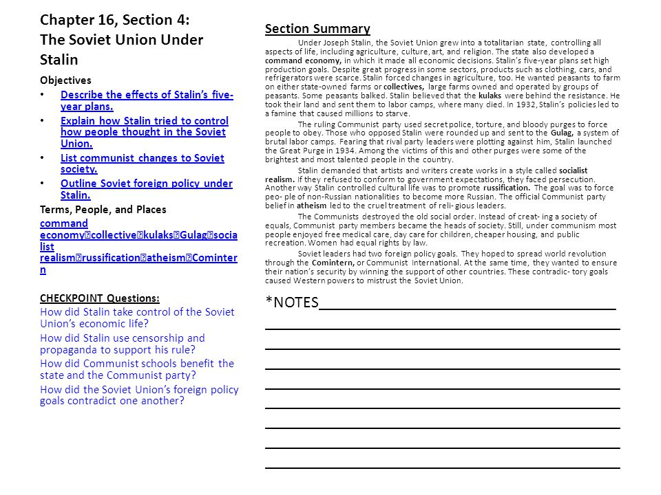 Chapter 16, Section 4: The Soviet Union Under Stalin