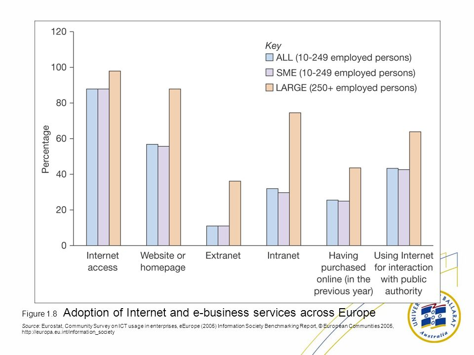 Figure 1.8 Adoption of Internet and e-business services across Europe