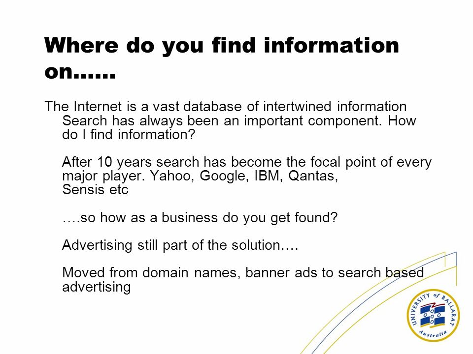 Where do you find information on……