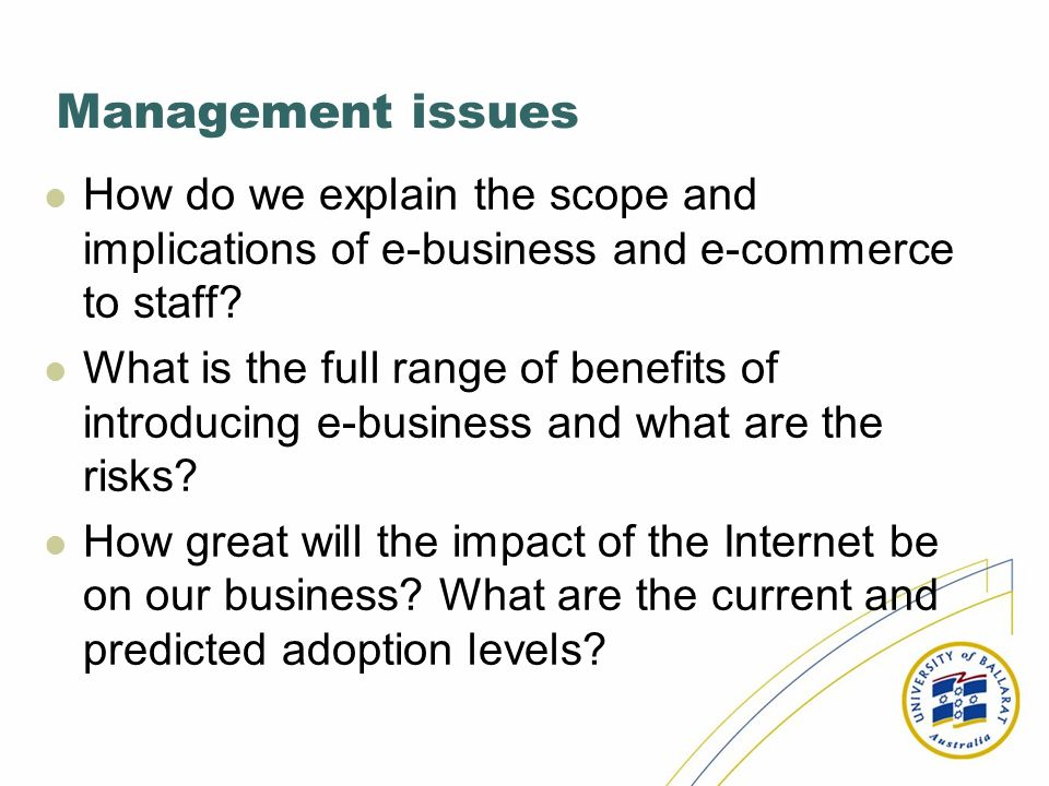 Management issues How do we explain the scope and implications of e-business and e-commerce to staff