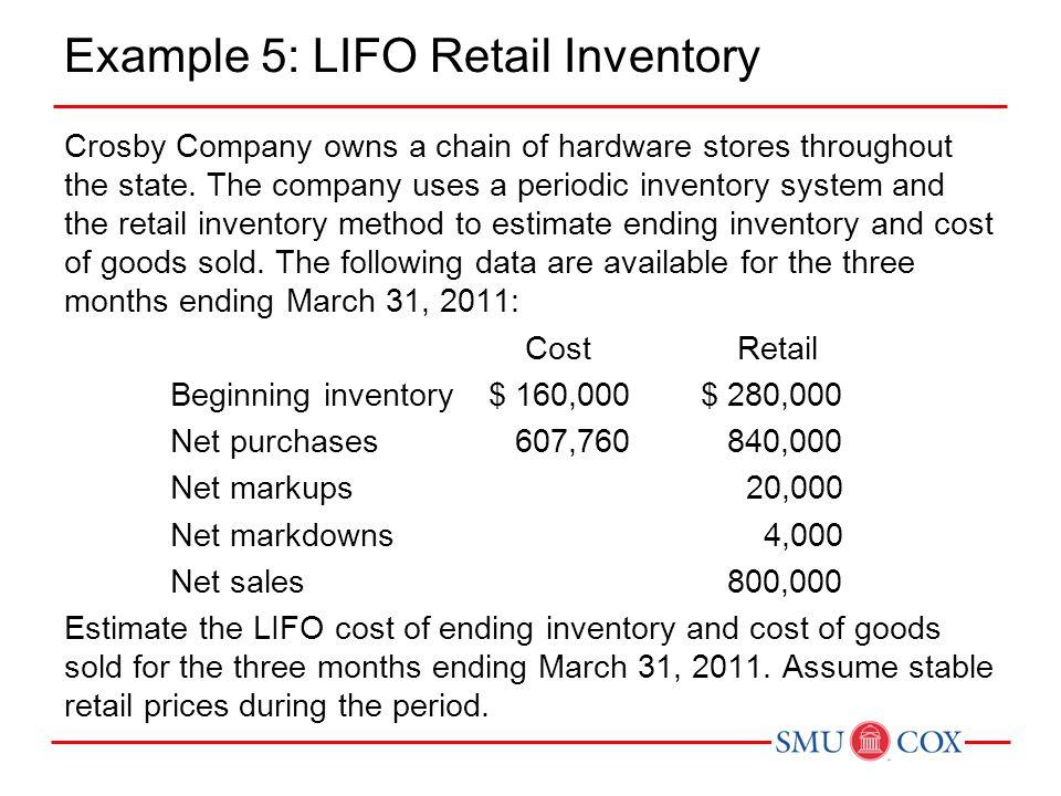Example 5: LIFO Retail Inventory