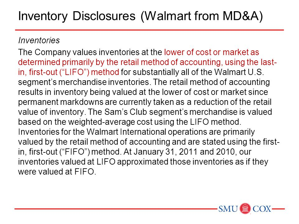 Inventory Disclosures (Walmart from MD&A)