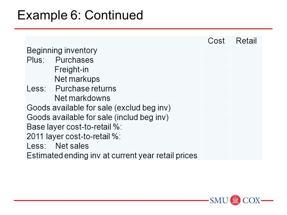 Example 6: Continued Cost Retail Beginning inventory Plus: Purchases