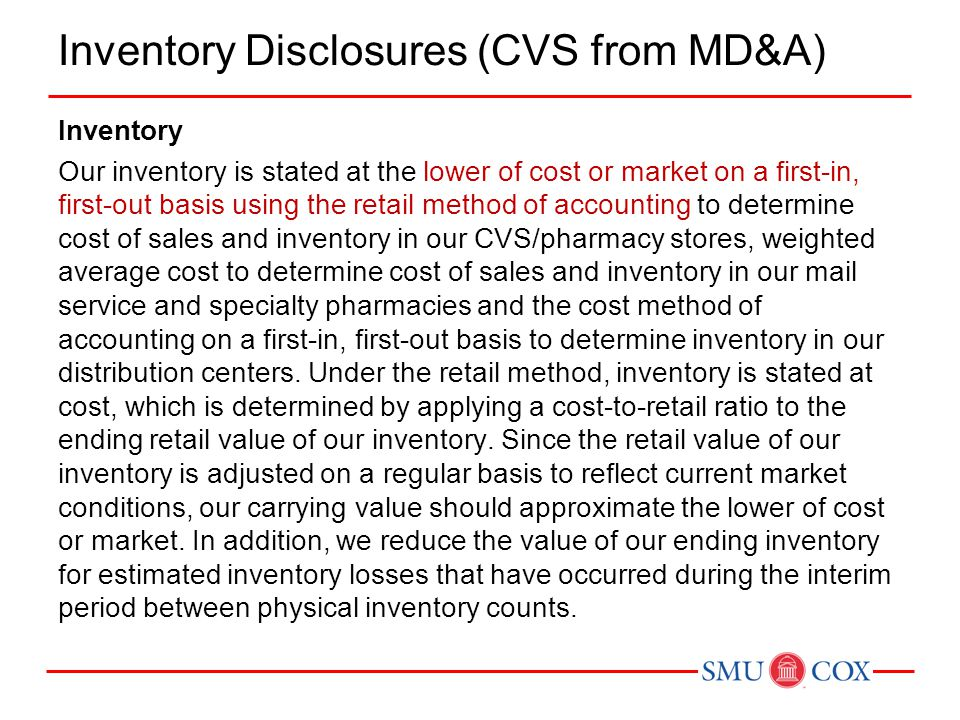 Inventory Disclosures (CVS from MD&A)
