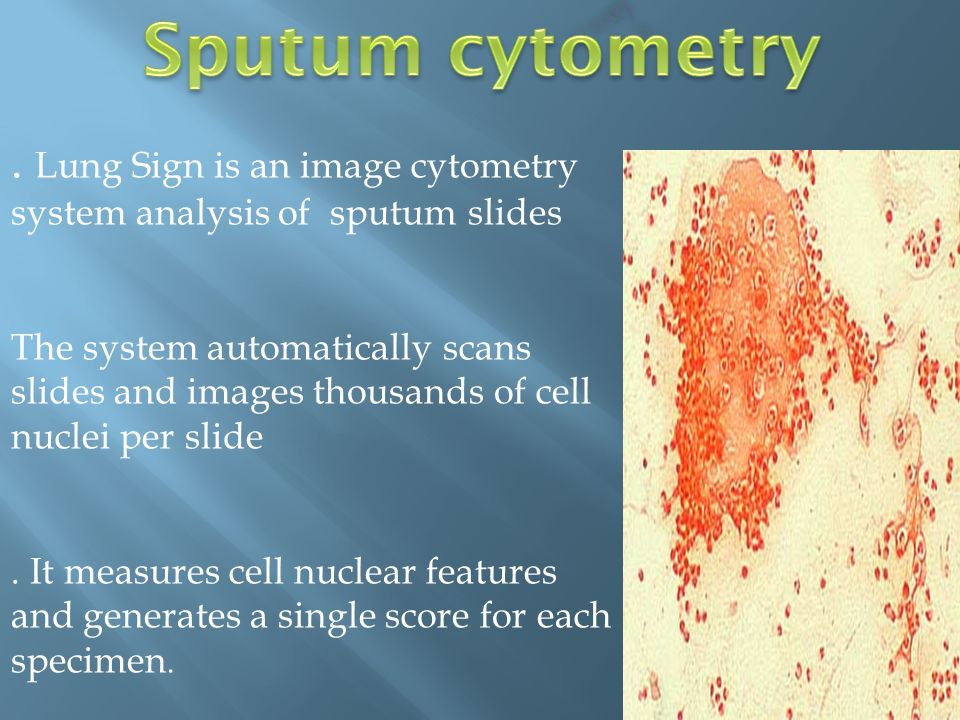 Sputum cytometry (con)