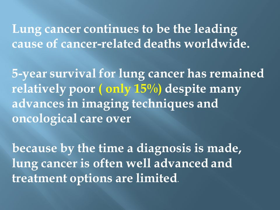 Lung cancer continues to be the leading cause of cancer-related deaths worldwide.