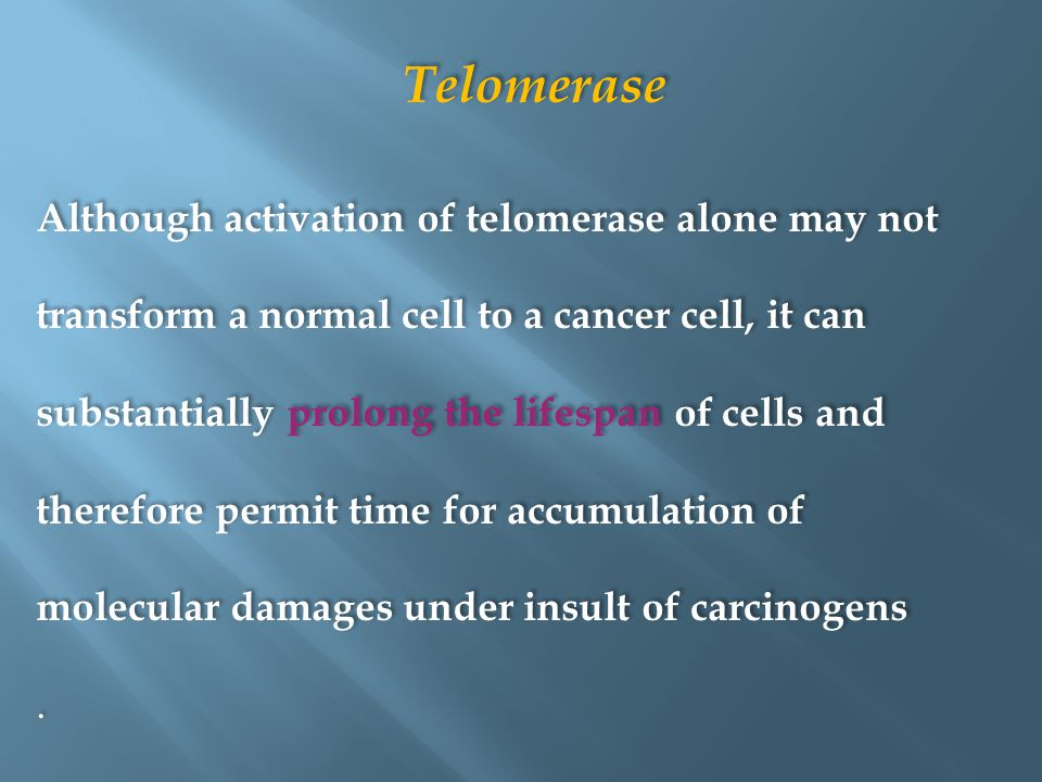 Telomerase Although activation of telomerase alone may not