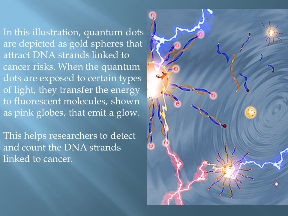 In this illustration, quantum dots are depicted as gold spheres that attract DNA strands linked to cancer risks. When the quantum dots are exposed to certain types of light, they transfer the energy to fluorescent molecules, shown as pink globes, that emit a glow.