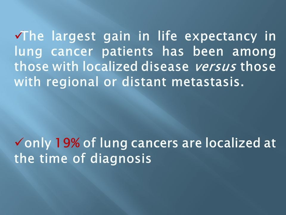 only 19% of lung cancers are localized at the time of diagnosis