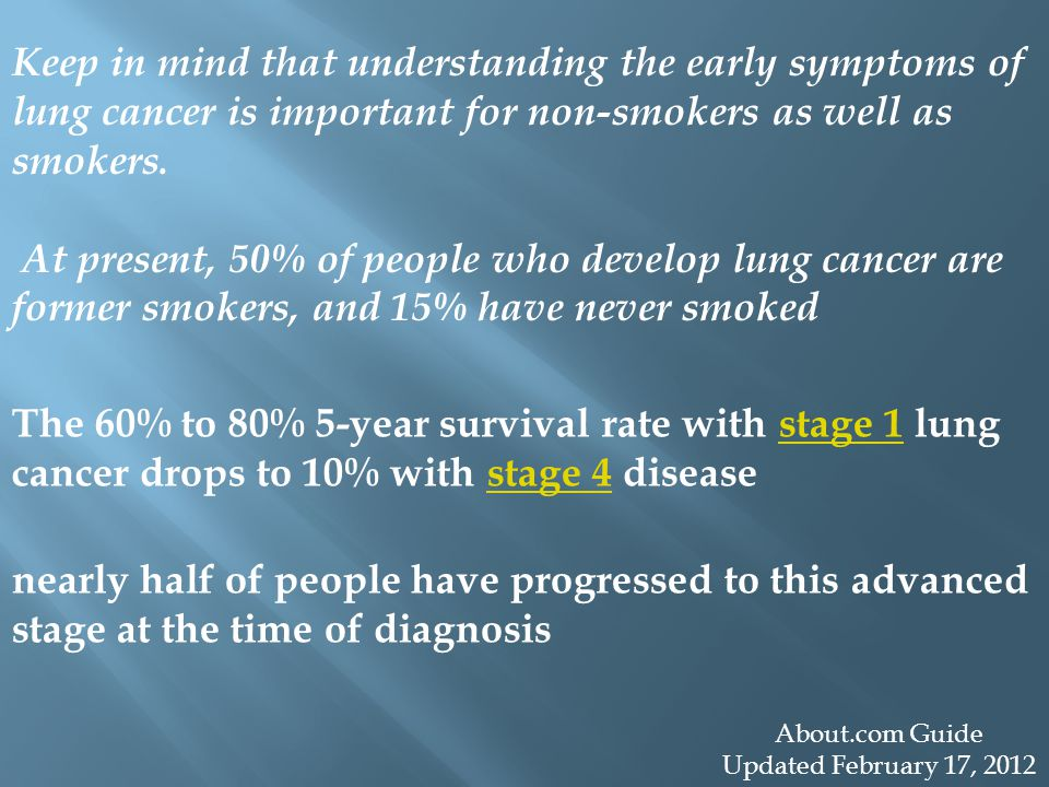 Keep in mind that understanding the early symptoms of lung cancer is important for non-smokers as well as smokers.