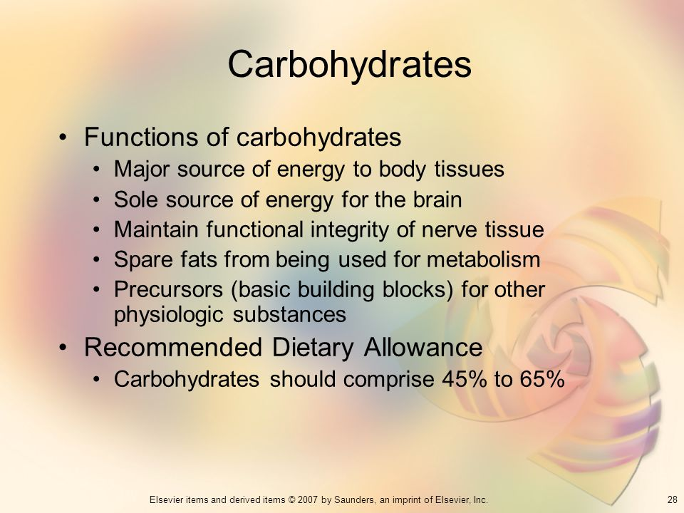 Carbohydrates Functions of carbohydrates Recommended Dietary Allowance