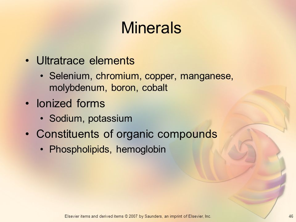 Minerals Ultratrace elements Ionized forms