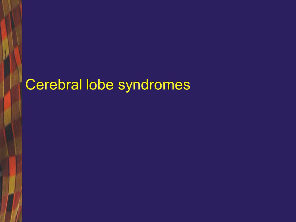 Cerebral lobe syndromes