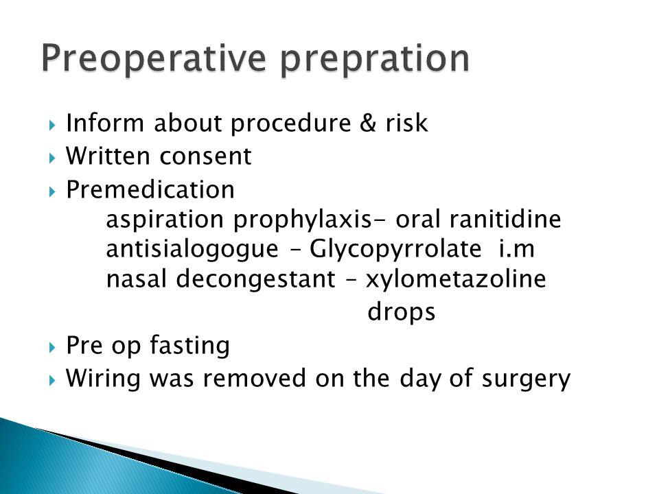 Preoperative prepration