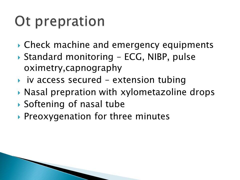 Ot prepration Check machine and emergency equipments