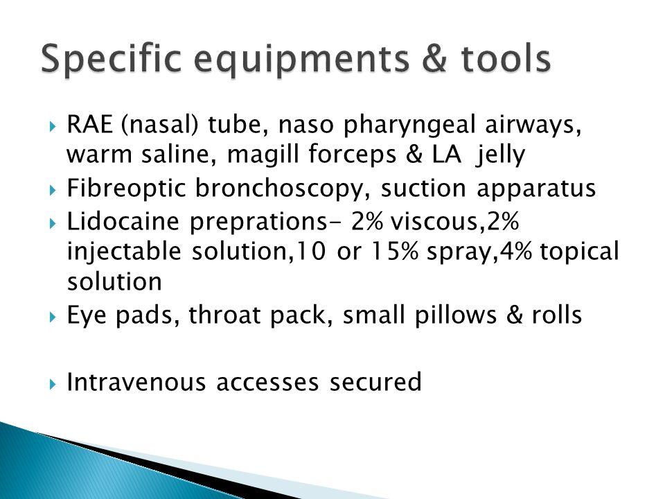 Specific equipments & tools