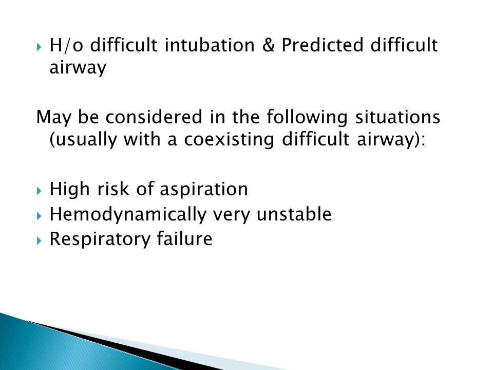 H/o difficult intubation & Predicted difficult airway