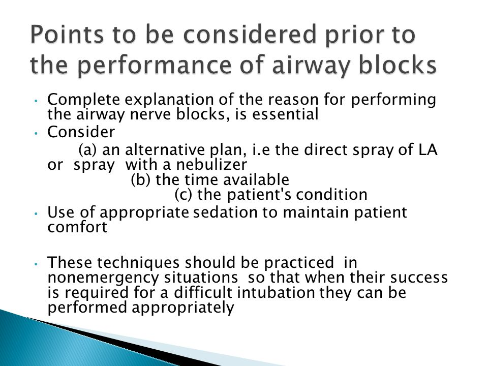 Points to be considered prior to the performance of airway blocks