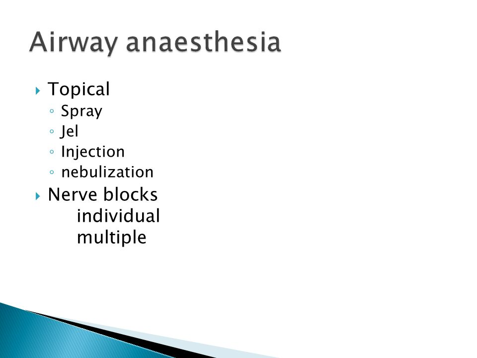 Airway anaesthesia Topical Nerve blocks individual multiple Spray Jel