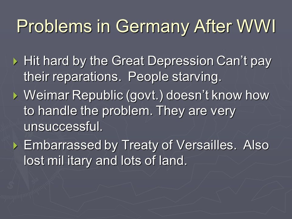 Problems in Germany After WWI
