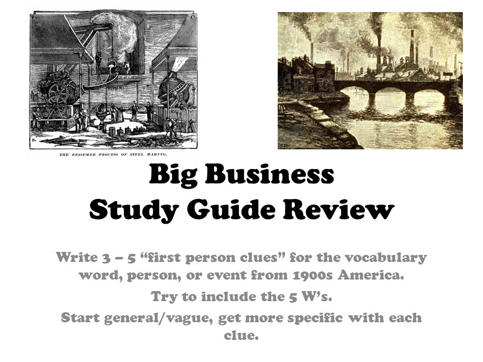 Big Business Study Guide Review