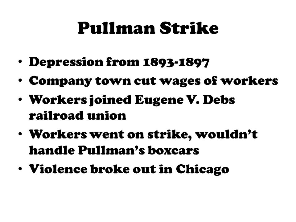 Pullman Strike Depression from