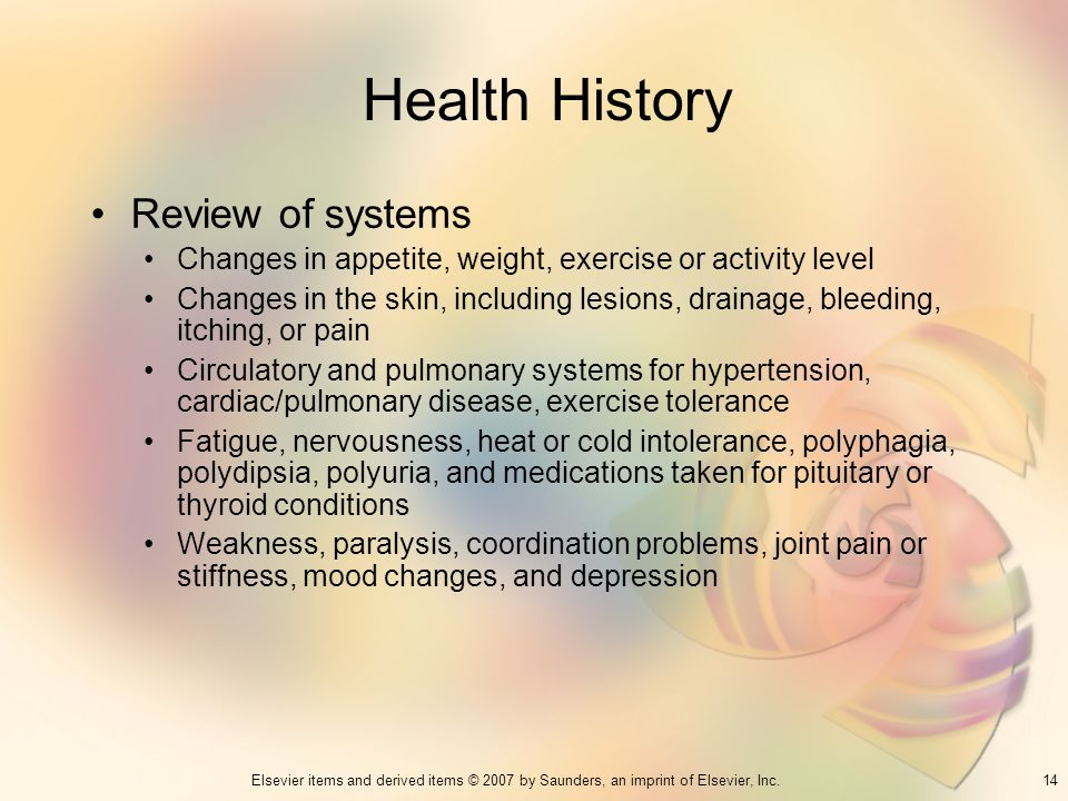 Health History Review of systems