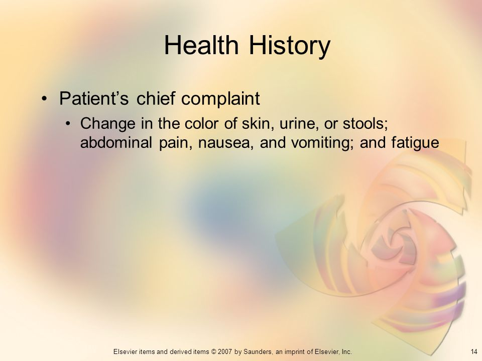 Health History Patient's chief complaint