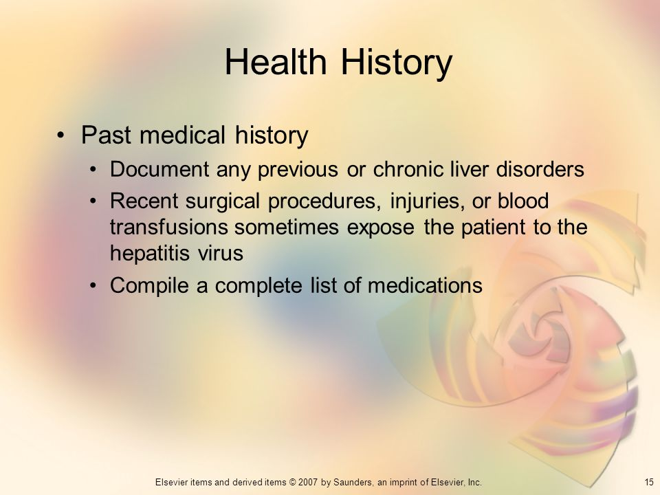 Health History Past medical history