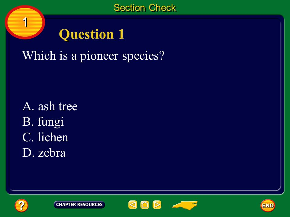 Question 1 1 Which is a pioneer species A. ash tree B. fungi