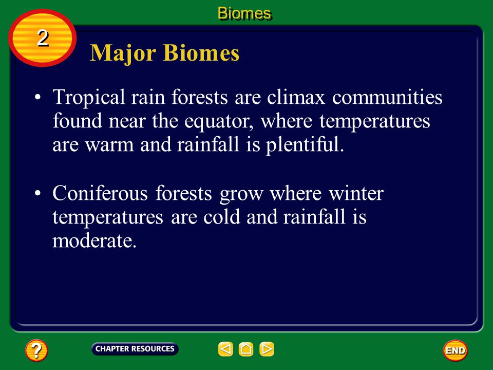 Biomes 2. Major Biomes. Tropical rain forests are climax communities found near the equator, where temperatures are warm and rainfall is plentiful.