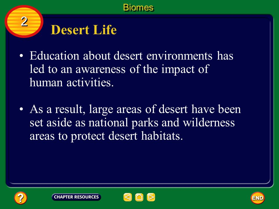 Biomes 2. Desert Life. Education about desert environments has led to an awareness of the impact of human activities.