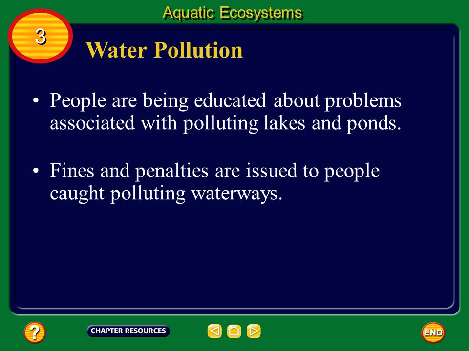 Aquatic Ecosystems 3. Water Pollution. People are being educated about problems associated with polluting lakes and ponds.