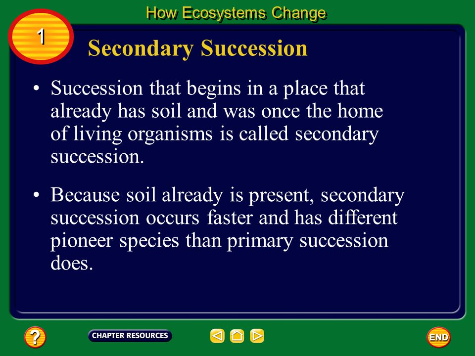 How Ecosystems Change 1. Secondary Succession.